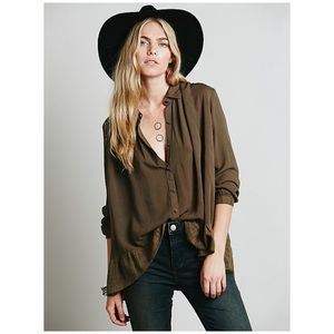 Free People Ruffle Hem Button Down